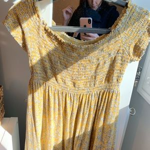 Off the shoulder yellow floral maternity top
